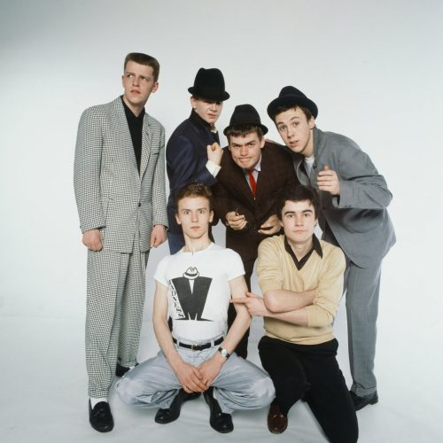 Pop group Madness pose in the Daily Mirror Studio, minus member Lee Thompson. 11th February 1980.